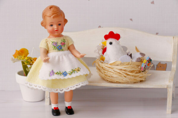 5 inches doll yellow dress